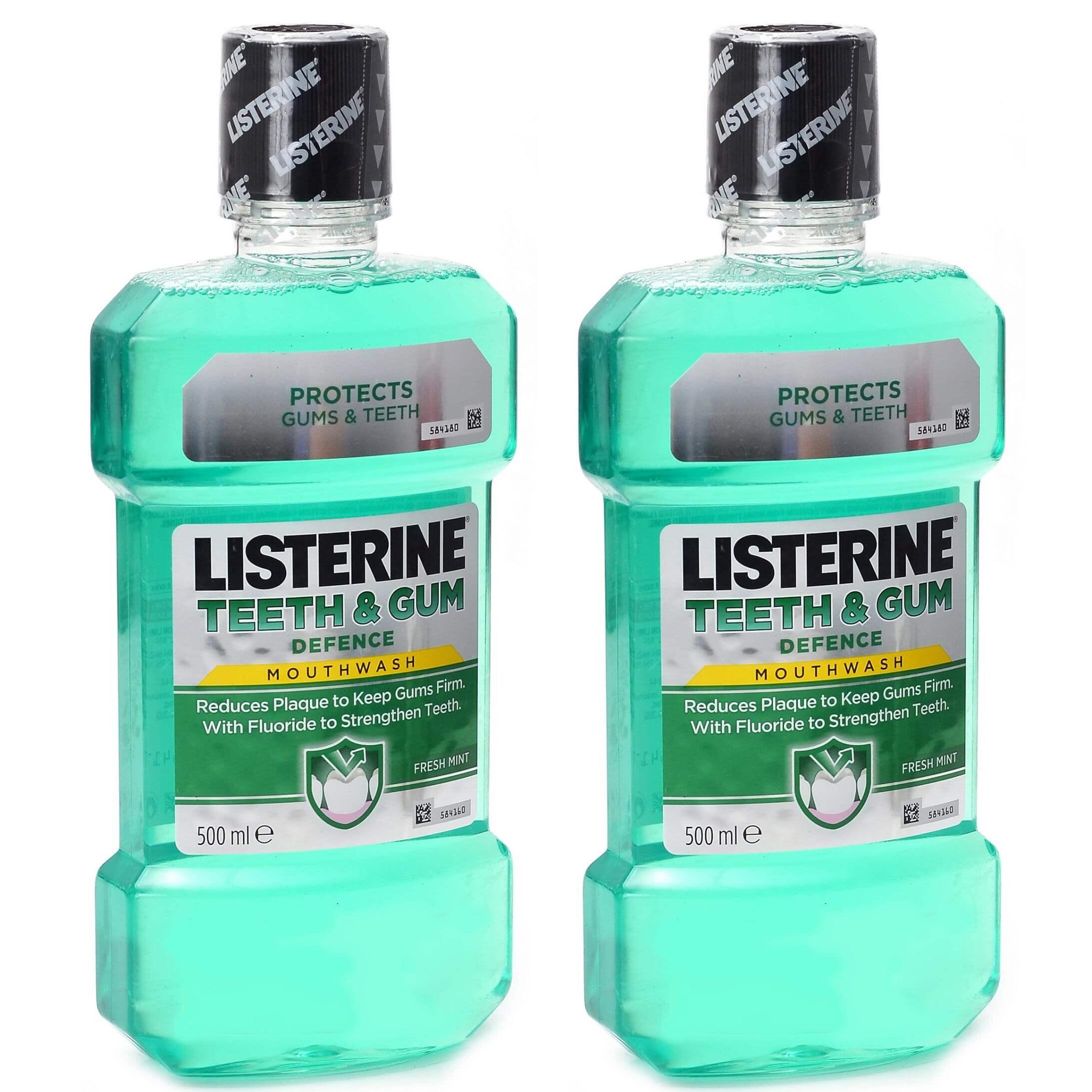 Listerine Πακέτο Προσφοράς Teeth & Gum Defence Ενδυναμώνει τα Δόντια &Προστατεύει τα Ούλα 2x500ml 1+1 Δώρο