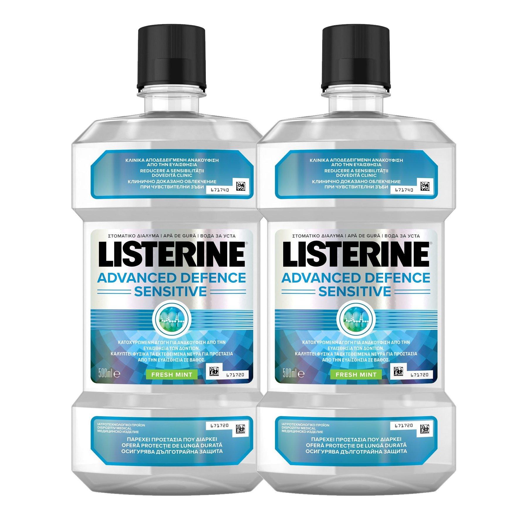 Listerine Πακέτο Προσφοράς Advanced Defence Sensitive Στοματικό Διάλυμα για Ανακούφιση από την Ευαισθησία των Δοντιών 2x500ml