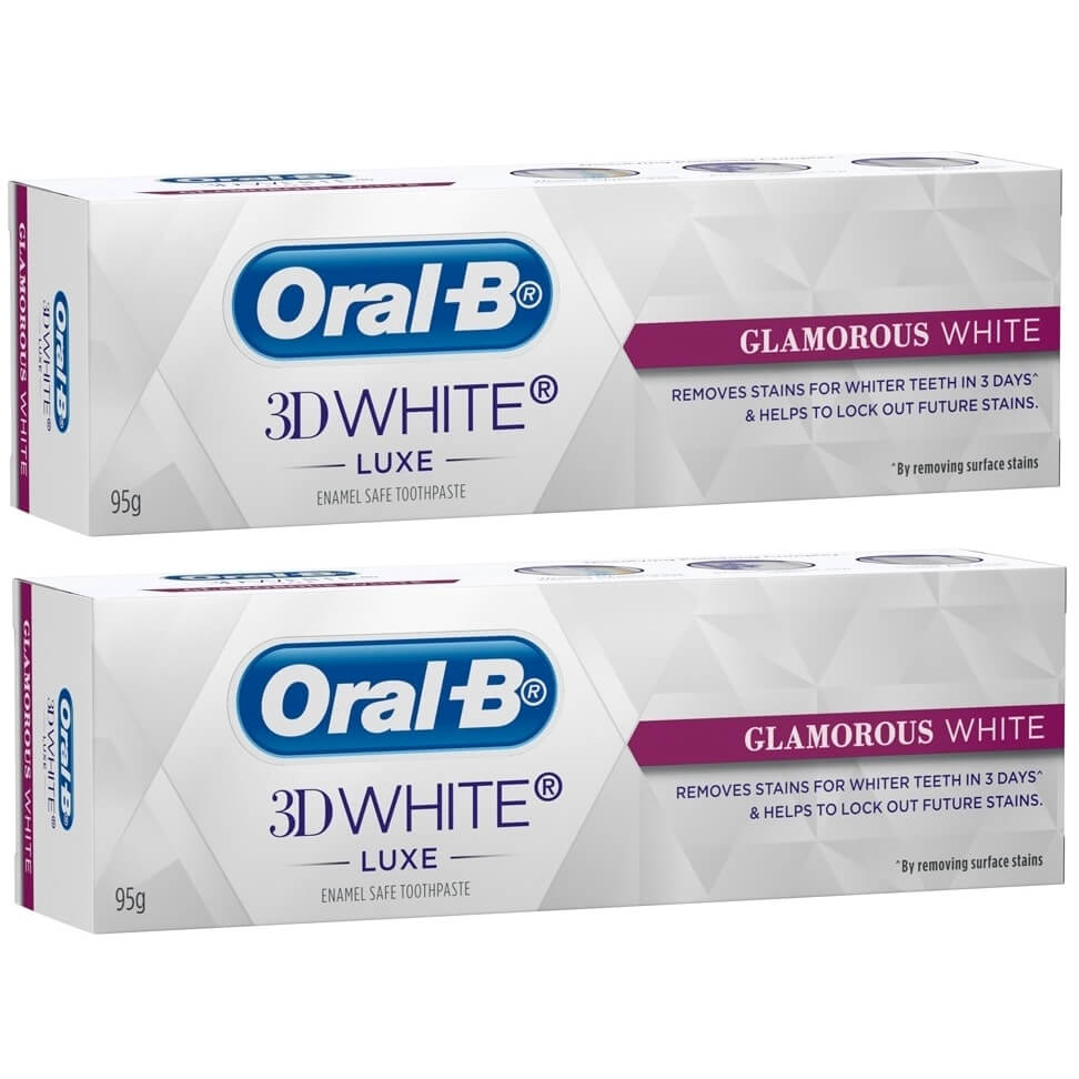 Oral-B Πακέτο Προσφοράς3D White Luxe Glamorous White Οδοντόκρεμα για την Αφαίρεση των Λεκέδων2x75ml 1+1 Δώρο