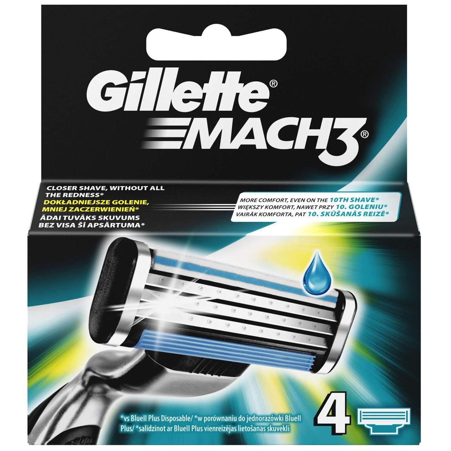 Gillette Mach 3 Ανταλλακτικά για Βαθύτερο Ξύρισμα 4Τμχ