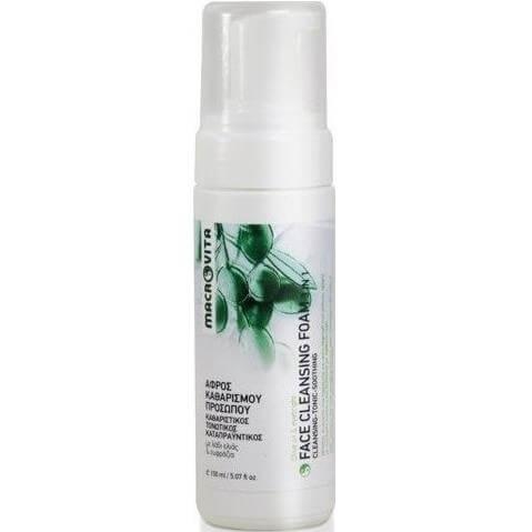 Macrovita Face Cleansing Foam 3 in 1 Αφρός Καθαρισμού Προσώπου για Όλους τους Τύπους Επιδερμίδας, με Λάδι Ελιάς & Ευφράζια 150ml