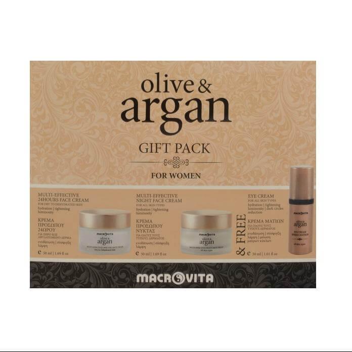 Macrovita Olive & Argan Gift Pack For Women Κρέμα Προσώπου Νύχτας 50ml + Κρεμα Η σετ   σετ περιποίησης προσώπου   σετ ενυδάτωσης και λάμψης