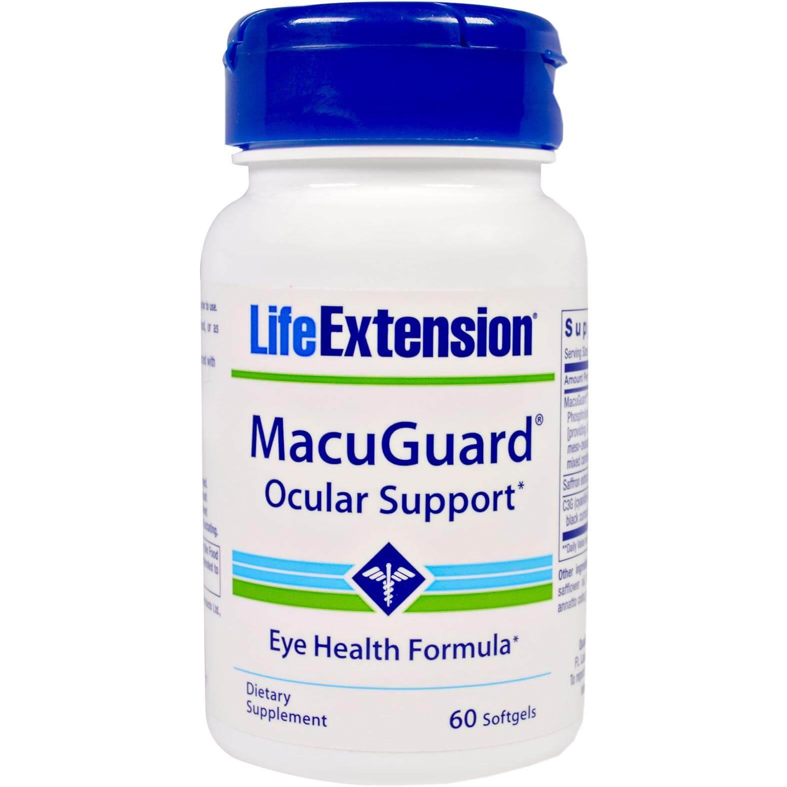 Life Extension MacuGuard Ocular Support Συμπλήρωμα Διατροφής που Συμβάλλει στην Υγεία των Ματιών 60softgels