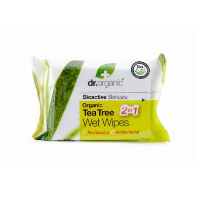 Dr Organic Organic Tea Tree Wet Wipes Υγρά Μαντηλάκια Καθαρισμού 20s