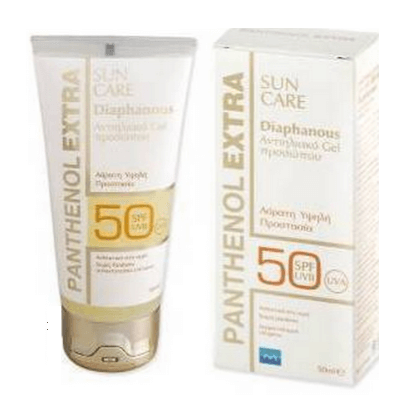Medisei Panthenol Extra Sun Care Spf50 Diaphanous Face Gel Διάφανη Αντηλιακή Kρέμα-Gel Προσώπου 50 ml