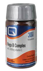 Quest Mega B Complex Plus 1000mg Vitamin C Για Ατομα Με Εντονο Τρόπο Ζωής 30 Tabs