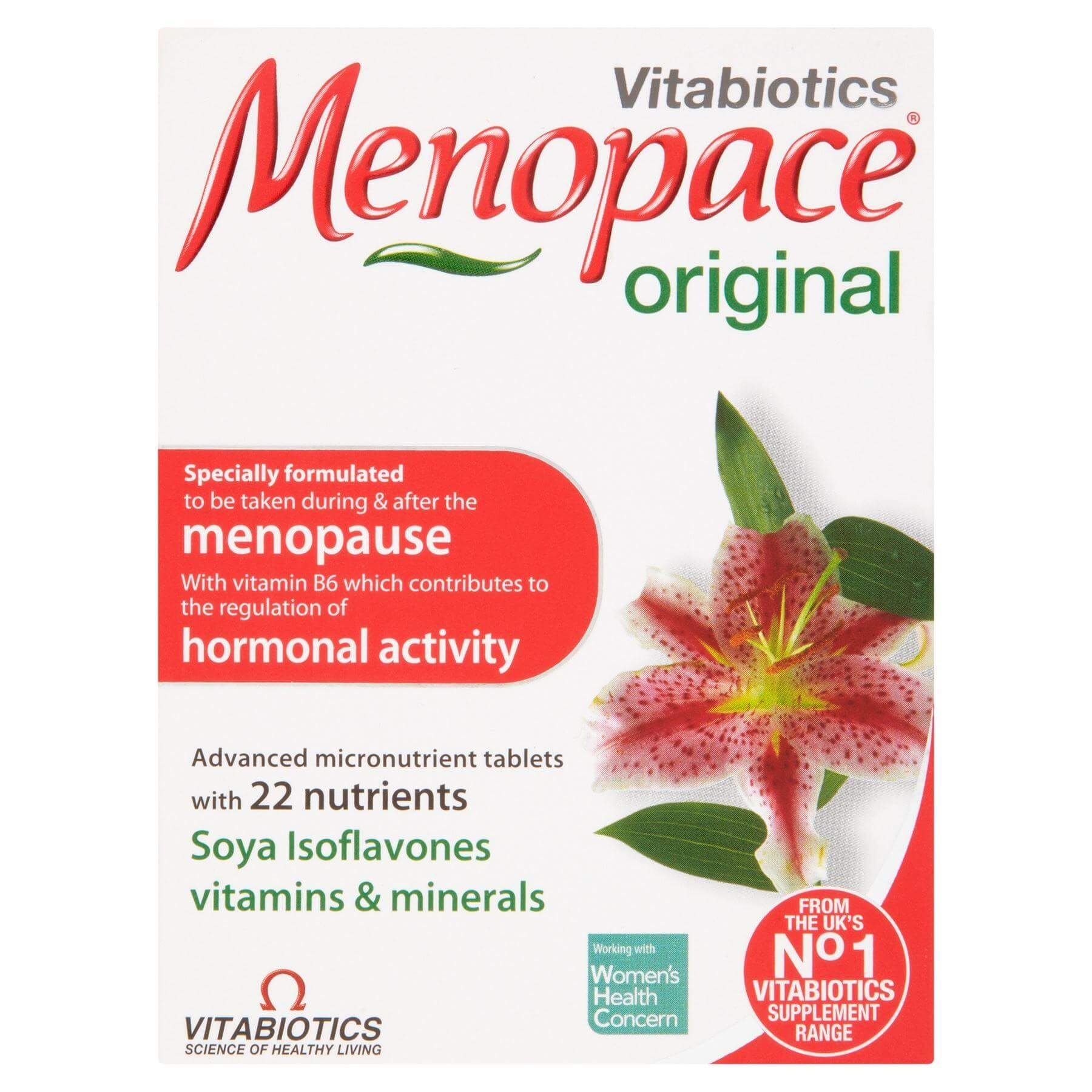 Vitabiotics Menopace Original Πριν Κατά Τη Διάρκεια Και Μετά Την Εμμηνόπαυση 30Caps