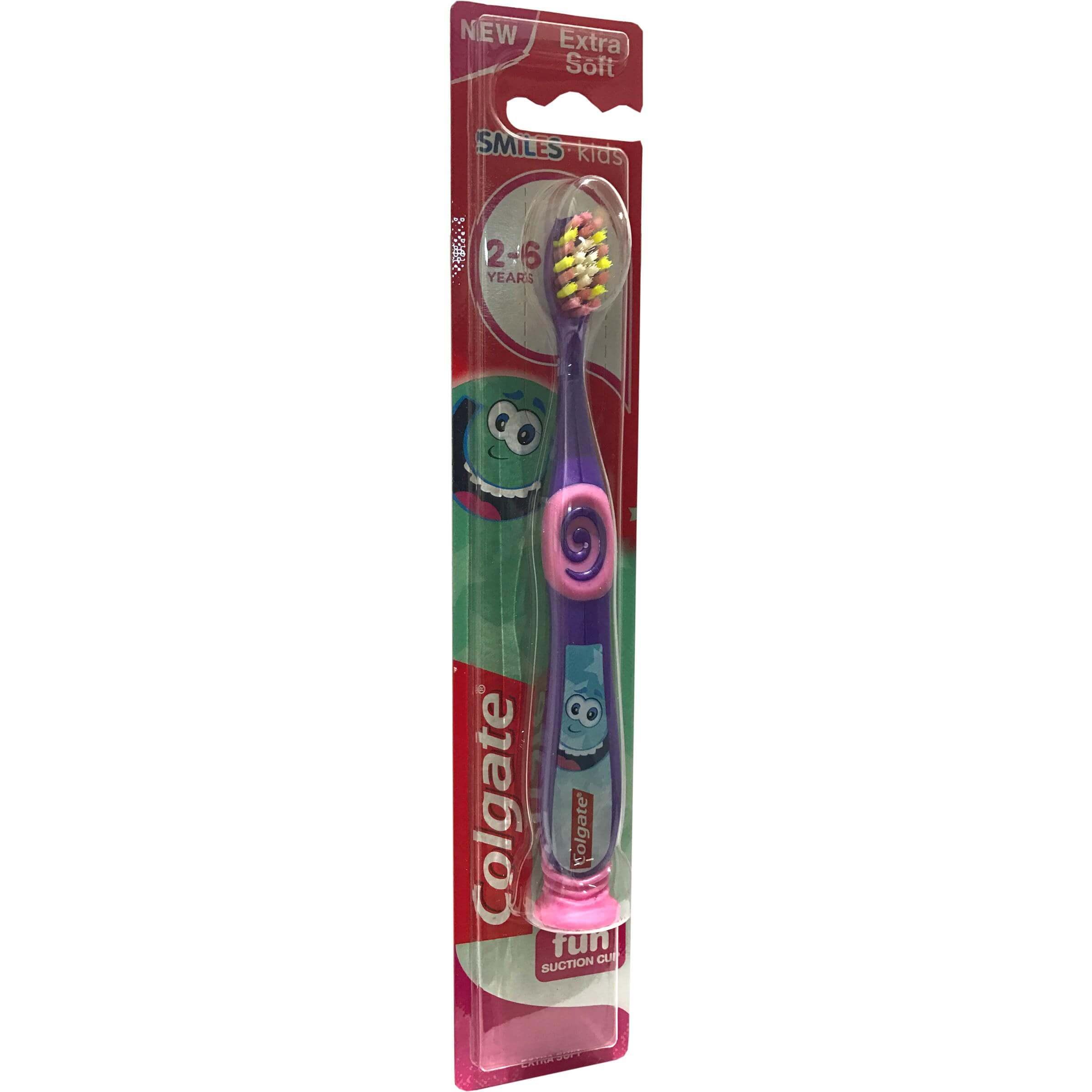 Colgate Kids Minios Extra Soft Οδοντόβουρτσα Παιδική 2-6 Χρονών σε Διαφορετικά Χρώματα με Ειδική Βάση 1τεμάχιο – κίτρινο