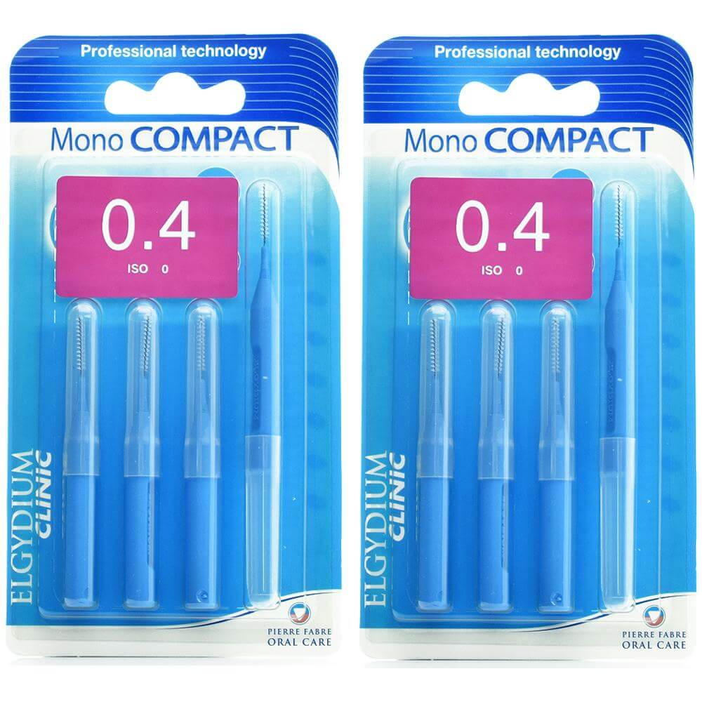 Elgydium Clinic Monocompact, Μεσοδόντια Βουρτσάκια 0.4mm Μπλε 2 x 4τμχ Προσφορά -50% στο 2ο Προϊόν