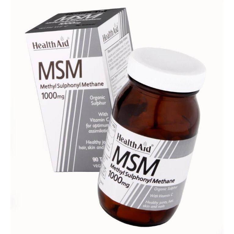 Health Aid MSM with Vitamin C Οργανικό Θείο Φυσικό Αντιφλεγμονώδες Οστών & Αρθρώσεων 90vegtabs