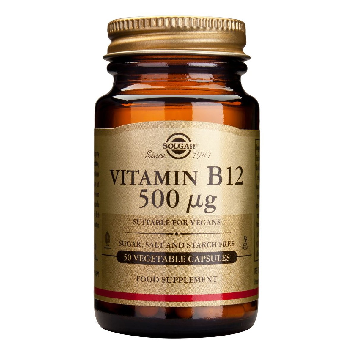 Solgar Vitamin B12 (κοβαλαμίνη) 50 veg.caps,Συμπλήρωμα Διατροφής για τη Φυσιολογική Λειτουργία του Γαστροπεπτικού και του Νευρι