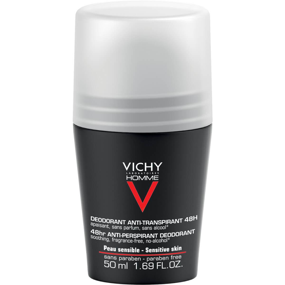 Vichy Homme Deodorant Bille Ανδρικό Αποσμητικό Κατά του Ιδρώτα για Ευαίσθητη Επιδερμίδα 48h 50ml