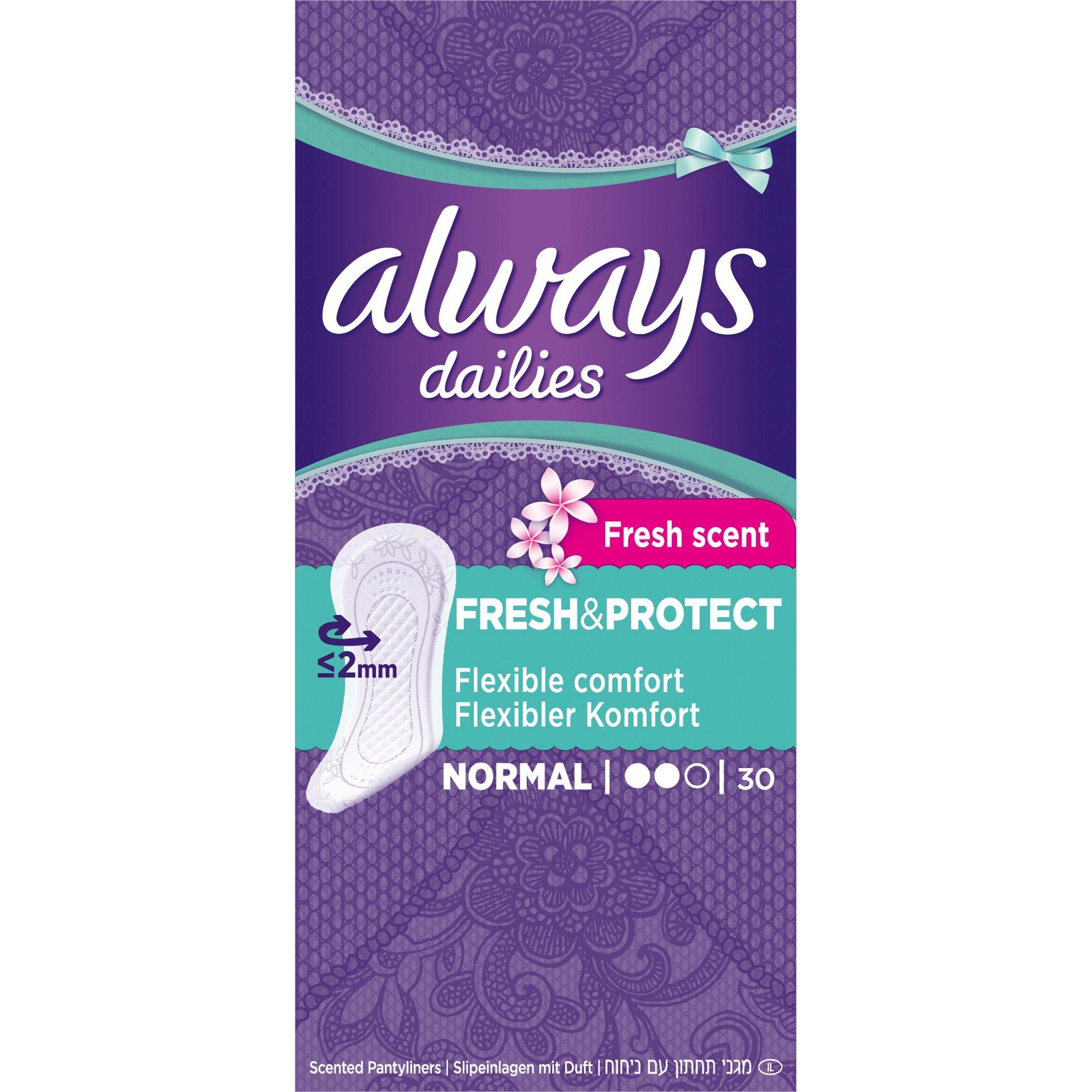 Always Dailies Fresh & Protect Normal Fresh Scent Σερβιετάκια με Άνετη Εφαρμογή Όλη Μέρα 30 τεμάχια