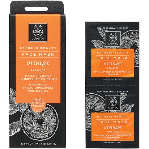 Express Beauty Πορτοκάλι 2x8ml – Apivita,Μάσκα Προσώπου για Αναζωογόνηση με Πορτοκάλι