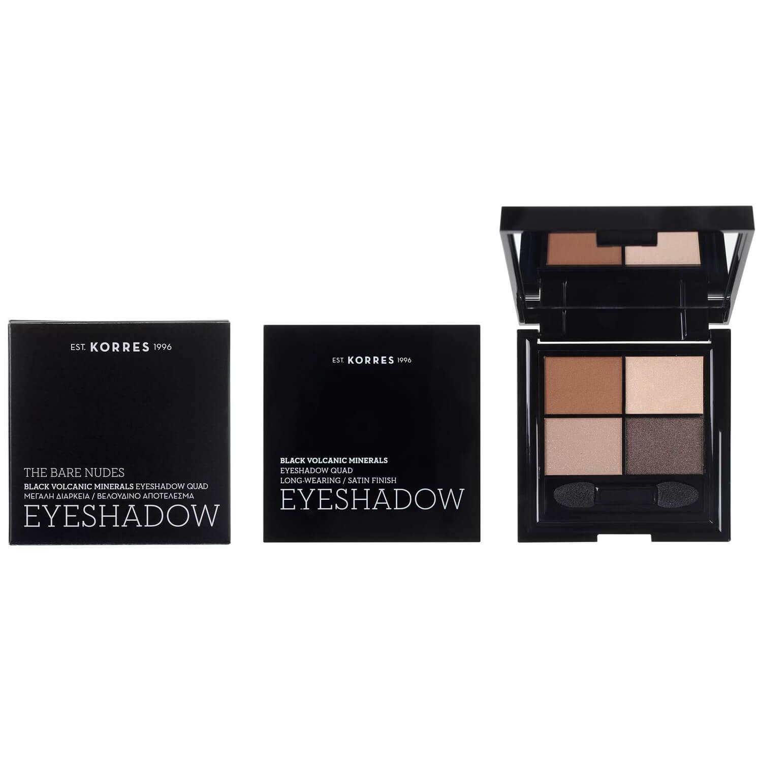 Korres Black Volcanic Minerals Eyeshadow Palette Satin Finish The Bare Nudes Κρεμώδη Υφή Μεγάλης Διάρκειας 5g