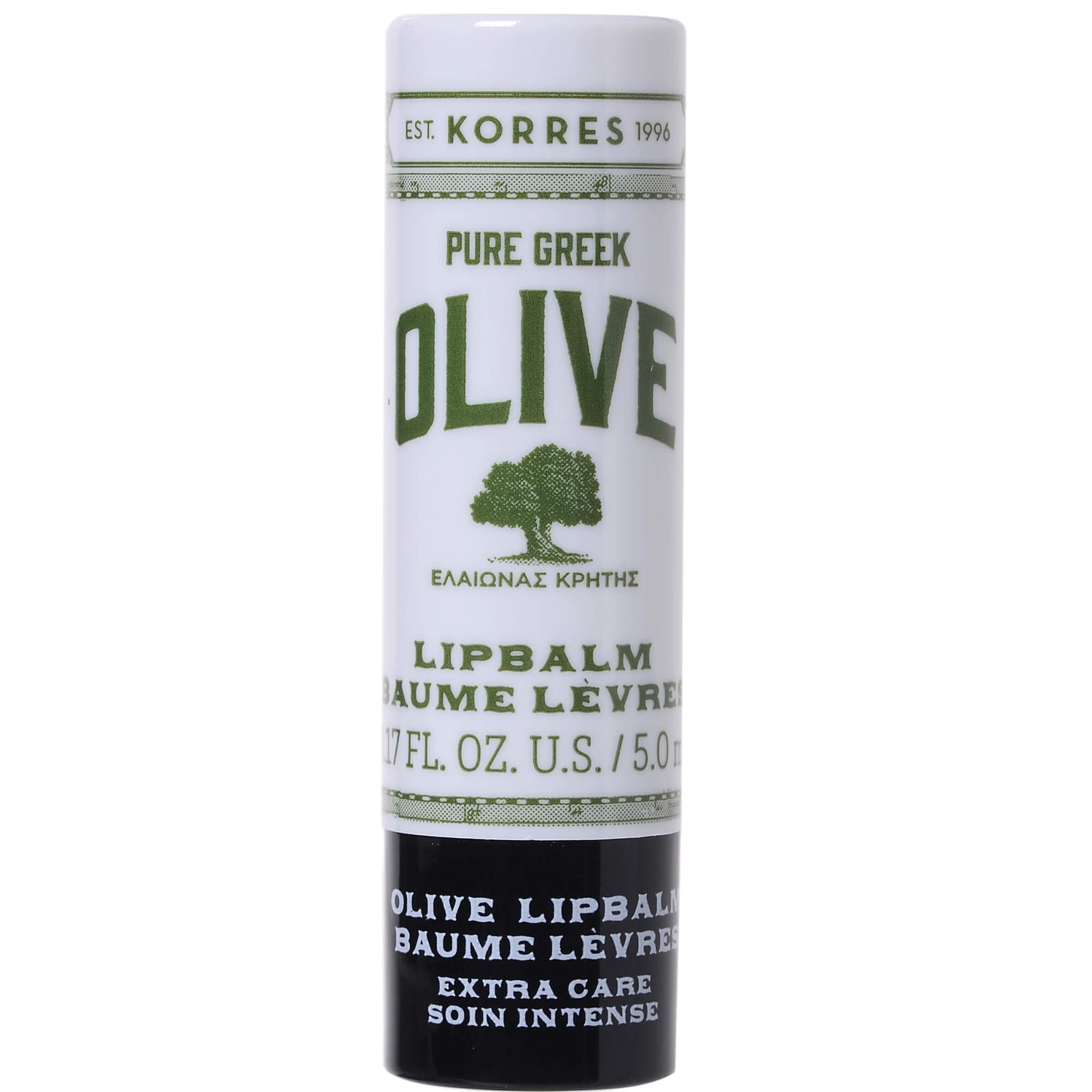 Korres Pure Greek Olive Extra Care Lip Balm Θρέψη, Ενυδάτωση στα Ξηρά Σκασμένα Χείλη με Αλόη και Shea Butter 5ml