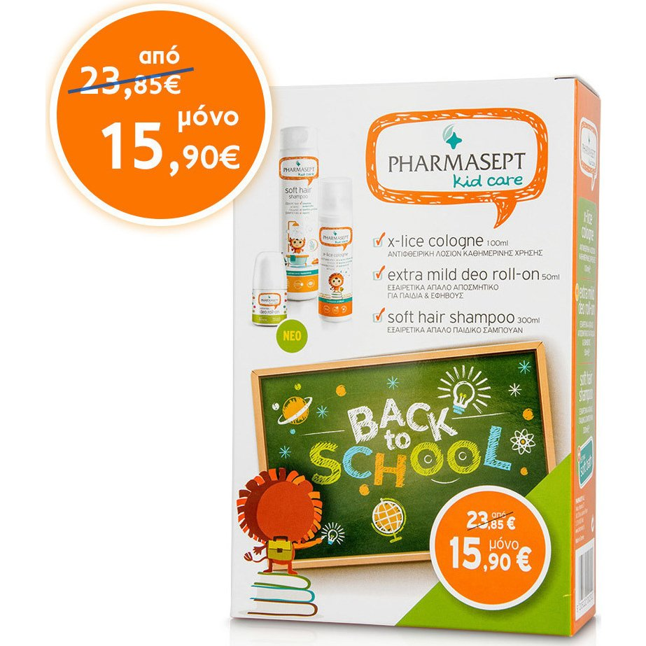 Pharmasept Πακέτο Back to School X-Lice Cologne 100ml, Extra Mild Deo Roll-On 50ml & Soft Hair Shampoo 300ml σε Ειδική Τιμή