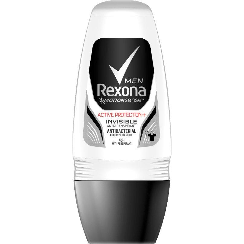 Rexona Men Anti-Transpirant Roll On Active Protection Invisible 48h Ανδρικό Αποσμητικό, 48ωρη Προστασία Χωρίς Λευκά Σημάδια 50ml