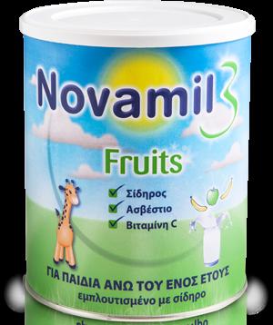 Novamil 3 Fruits Γάλα Ειδικά Σχεδιασμένο για Παιδιά από 1 έως 3 Ετών, Θωρακίζει τον Οργανισμό του Παιδιού 800gr