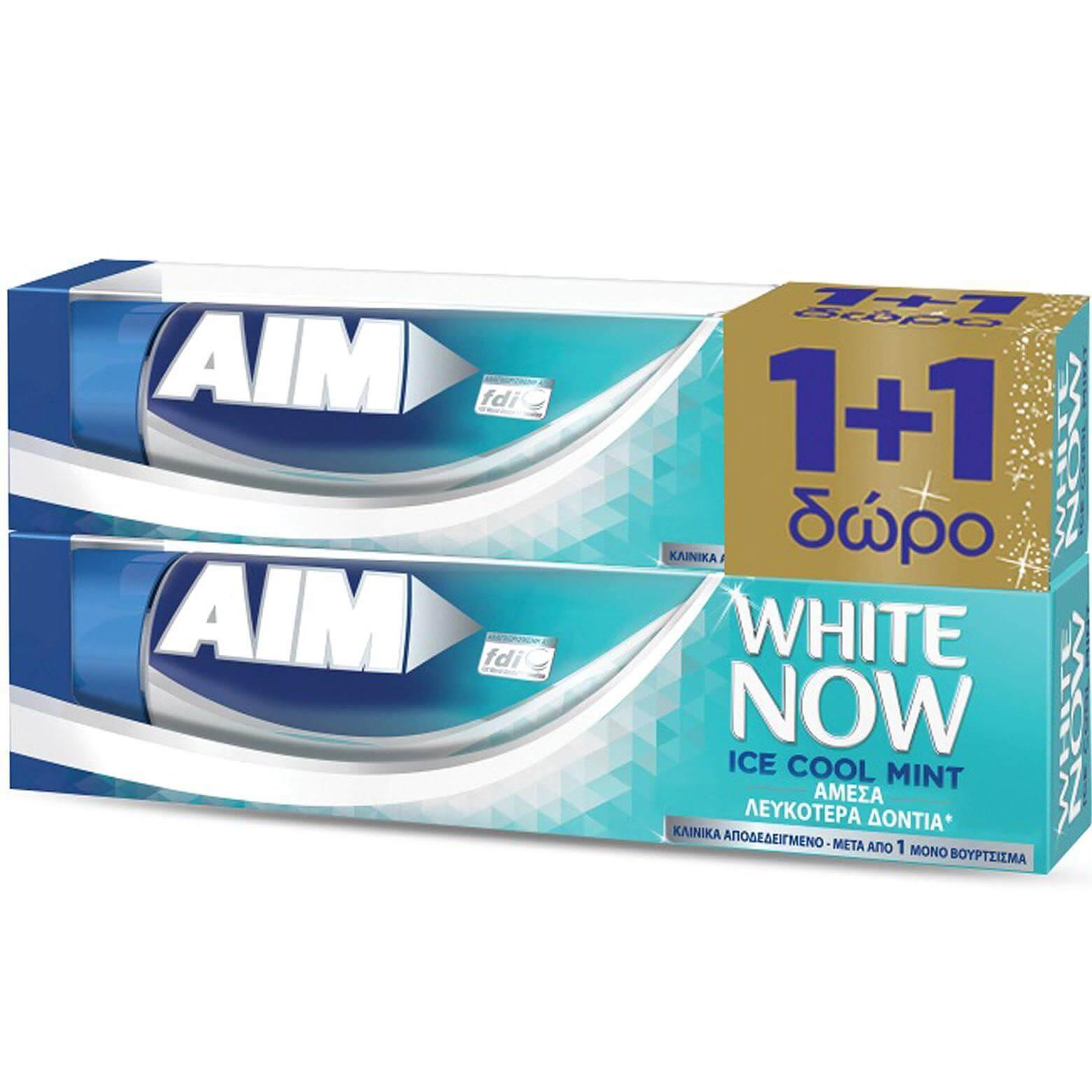 Aim Πακέτο Προσφοράς White Now Ice Cool Mint Οδοντόκρεμα για Άμεσα Λευκότερα Δόντια, με Δροσερή Γεύση Μέντα 1+1 Δώρο 2 x 75ml