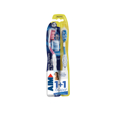 Aim Οδοντόβουρτσα White System Μέτρια 1+1 Δώρο
