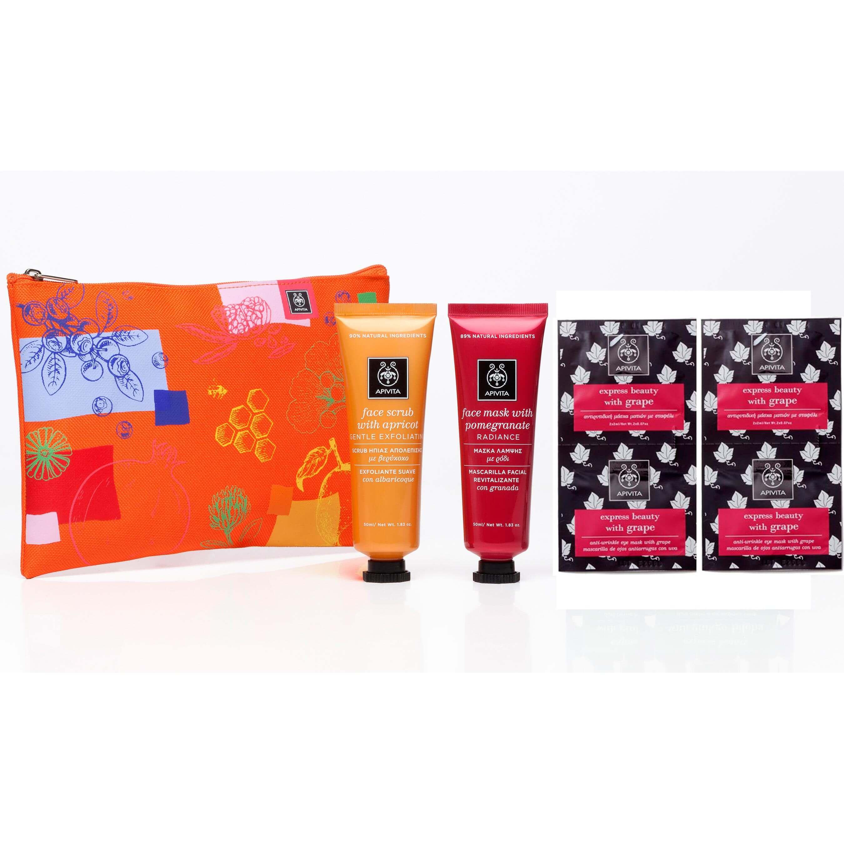 Apivita Gift Set Scrub Απολέπισης Βερίκοκο 50ml, Μάσκα Λάμψης Ρόδι 50ml &Δώρο Αντιρυτιδική Μάσκα Ματιών Σταφύλι 2x2ml Νεσεσερ