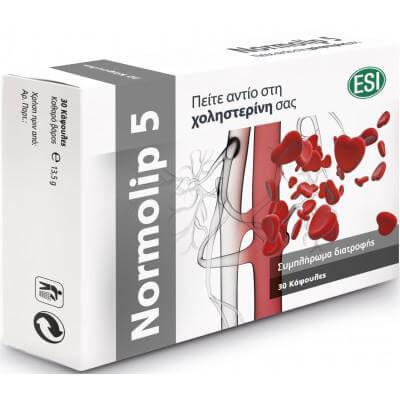 Esi Normolip 5 Συμβάλλει Στη Διατήρηση Των Φυσιολογικών Επιπέδων Της Χοληστερίνης 30caps