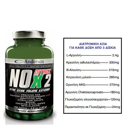 Anderson Nox Nitrox-2 Μονοξείδιο Του Αζώτου 100tabs