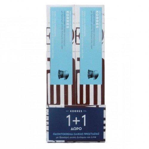 Korres Οδοντόκρεμα Ολικής Προστασίας Δυόσμος & Lime 1+1 Δωρο 2x75ml