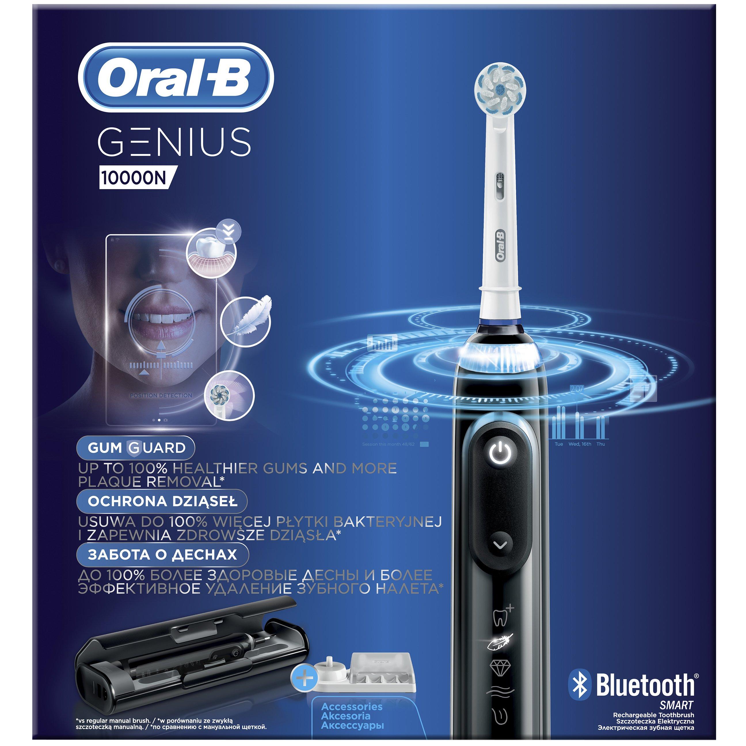 Oral-B Genius 10000 N Προηγμένη Ηλεκτρική Οδοντόβουρτσα με 6 Διαφορετικά Προγράμματα Καθαρισμού & Σύνδεση Bluetooth, Χρώμα Μαύρο