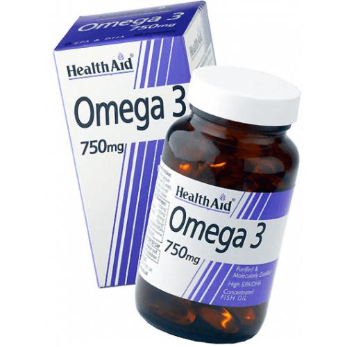 Health Aid Οmega 3 Fish Oil 750 mg Ωμέγα 3 Λιπαρά οξέα 60κάψουλες