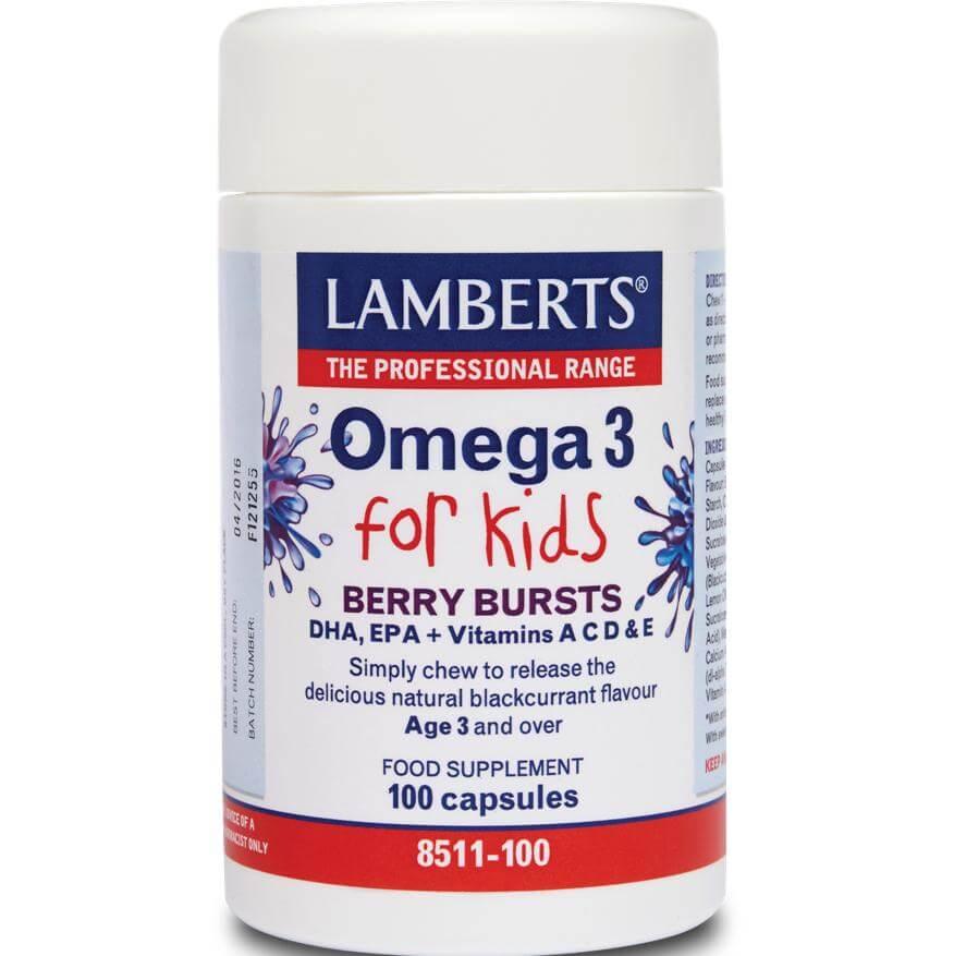 Lamberts Omega 3 for Kids (Berry Bursts) Μασώμενες Βιταμίνες με Ωμέγα 3, Βιταμίνες Α,C,D,E για Παιδιά – 30 tabs
