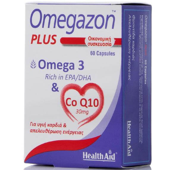 Health Aid Omegazon Plus Omega-3 & Co Q10 Συμπλήρωμα Διατροφής για Υγιή Καρδιά & Απευλευθέρωση Ενέργειας 60caps