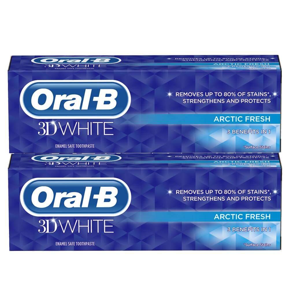 Oral-B Πακέτο Προσφοράς 3D White Arctic Fresh Οδοντόκρεμα που Απομακρύνει Έως και 80% των Λεκέδων από τα Δόντια 2x75ml 1+1 Δώρο