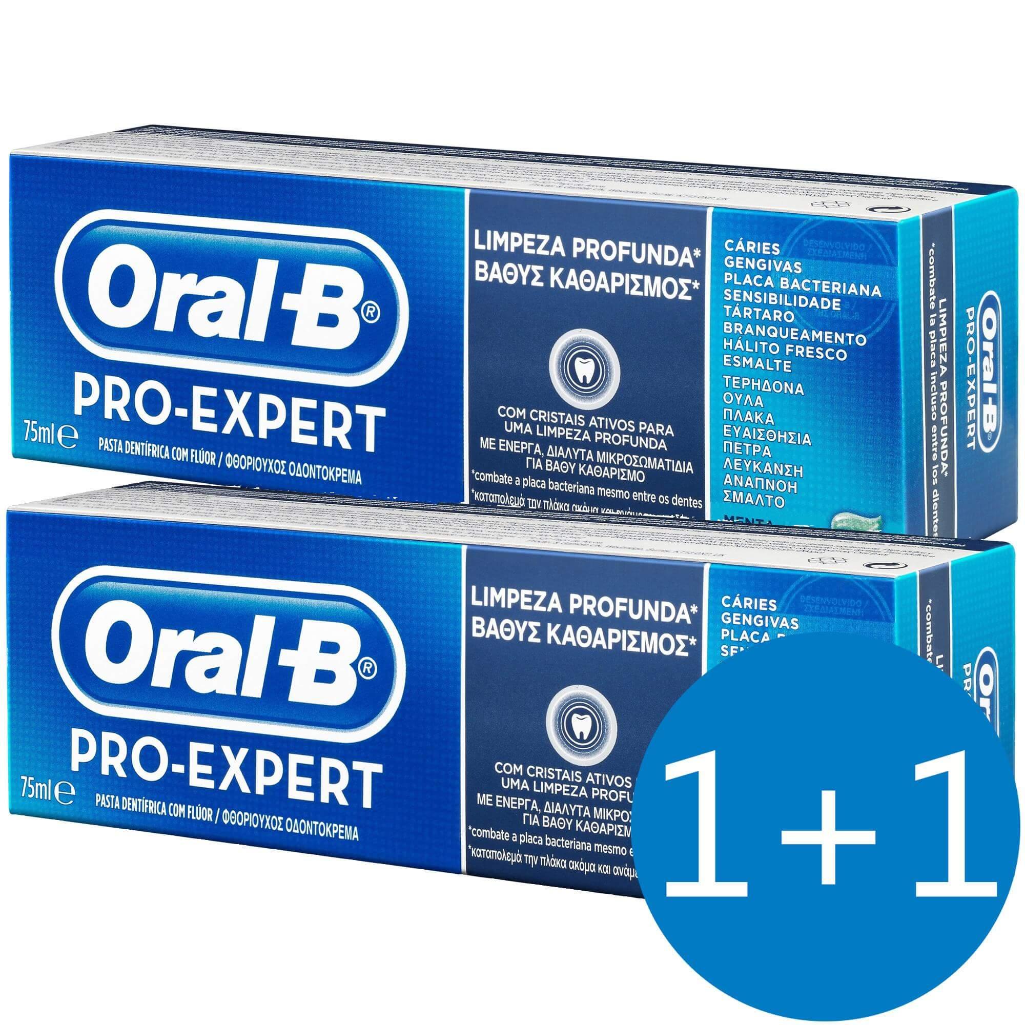 Oral-B Πακέτο Προσφοράς Pro-Expert Deep Clean Οδοντόκρεμα για Βαθύ Kαθαρισμό 75ml Προσφορά 1+1 Δώρο
