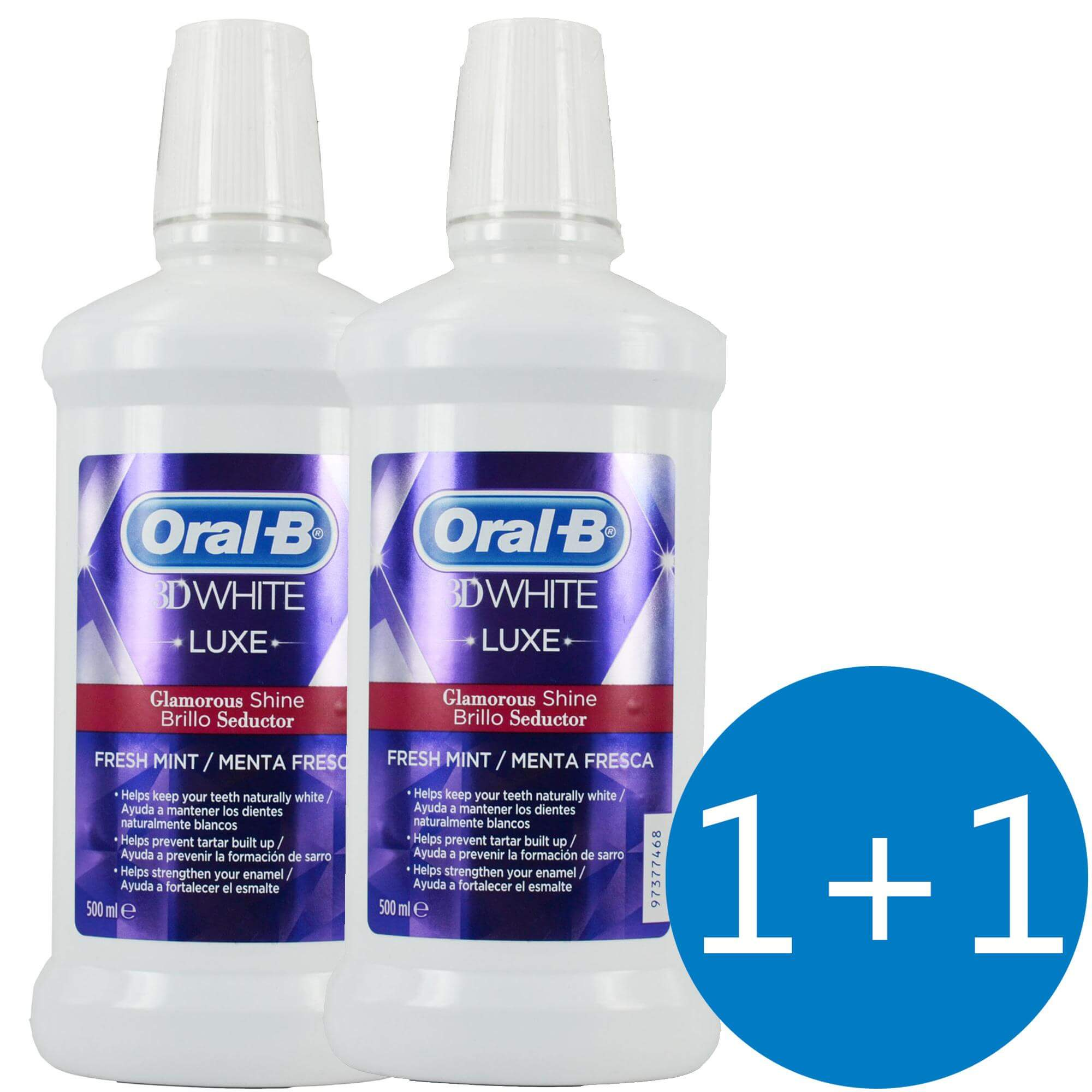 Oral-B Πακέτο Προσφοράς 3D White Luxe Glamorous Shine Στοματικό Διάλυμα για Λευκά Δόντια με Άρωμα Μέντας 500ml 1+1 Δώρο