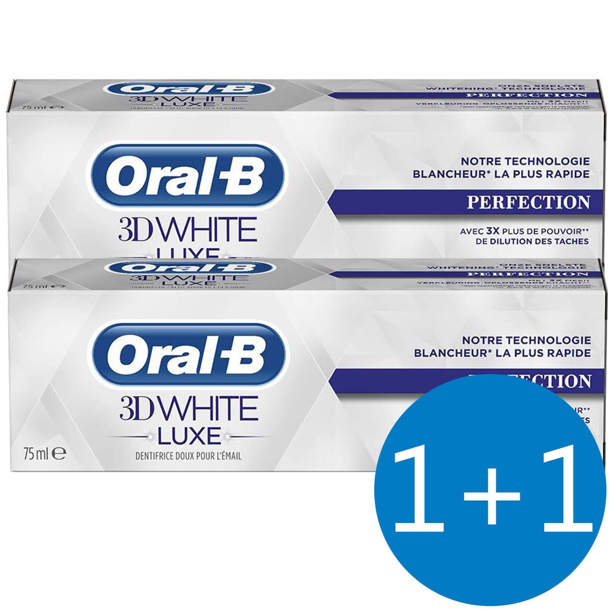 Oral B Πακέτο Προσφοράς 3D White Luxe Perfection Οδοντόκρεμα Απαλή με το Σμάλτο 75ml 1+1 Δώρο
