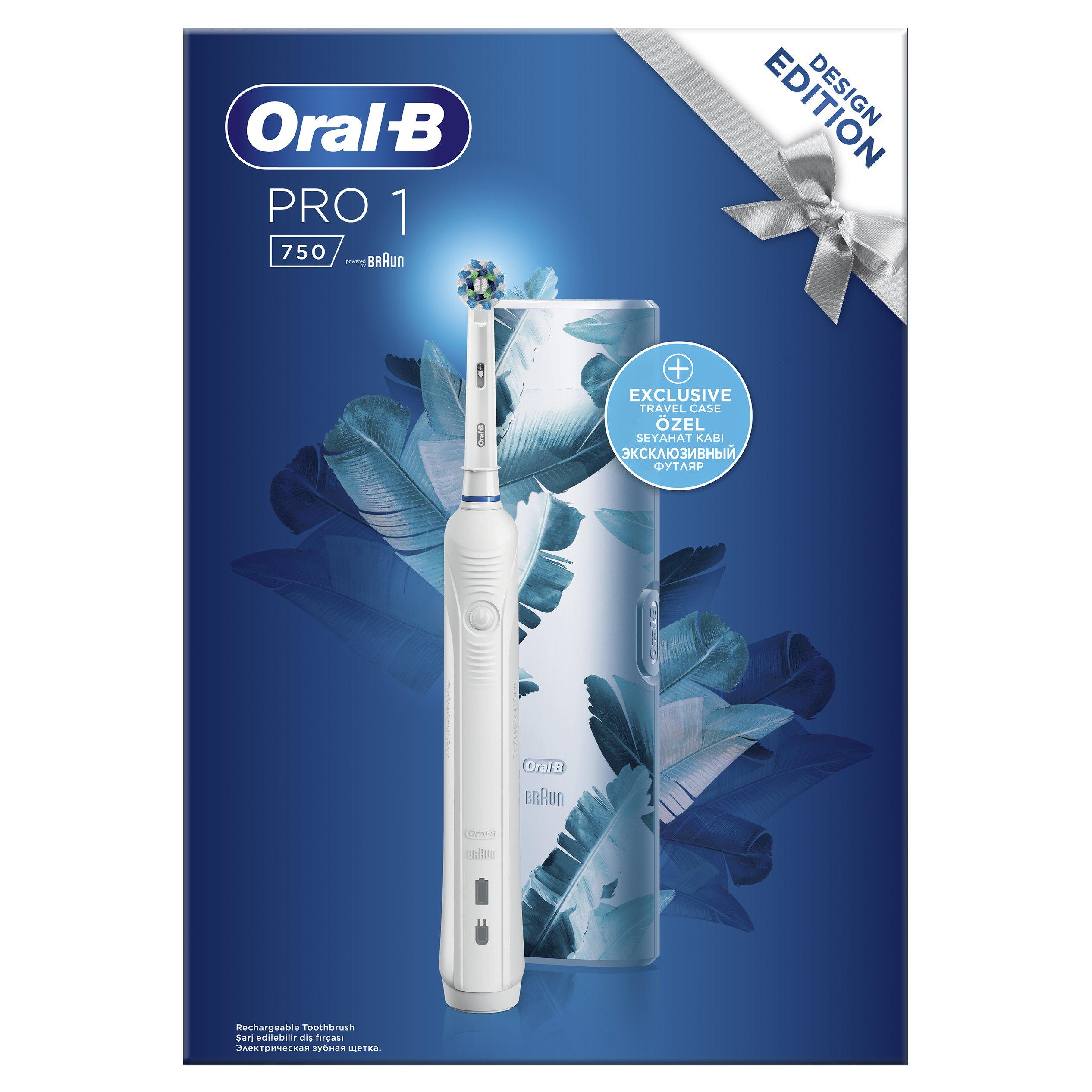 Oral-B Pro 1 750 Design Edition Blue Ηλεκτρική Οδοντόβουρτσα για πιο Λευκά Δόντια από την 1η Μέρα & Δώρο Premium Θήκη Ταξιδίου