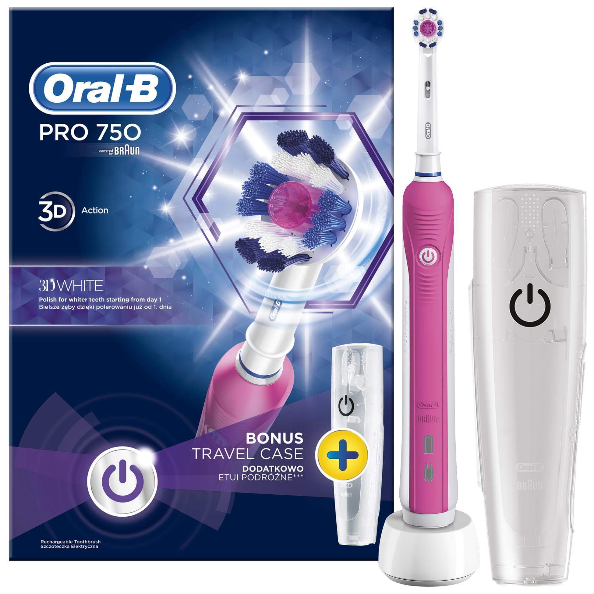 Oral-B Pro 750 3D WhiteSpecial EditionΗλεκτρική Οδοντόβουρτσα για Βαθύ Καθαρισμό σε ΡοζΧρώμα