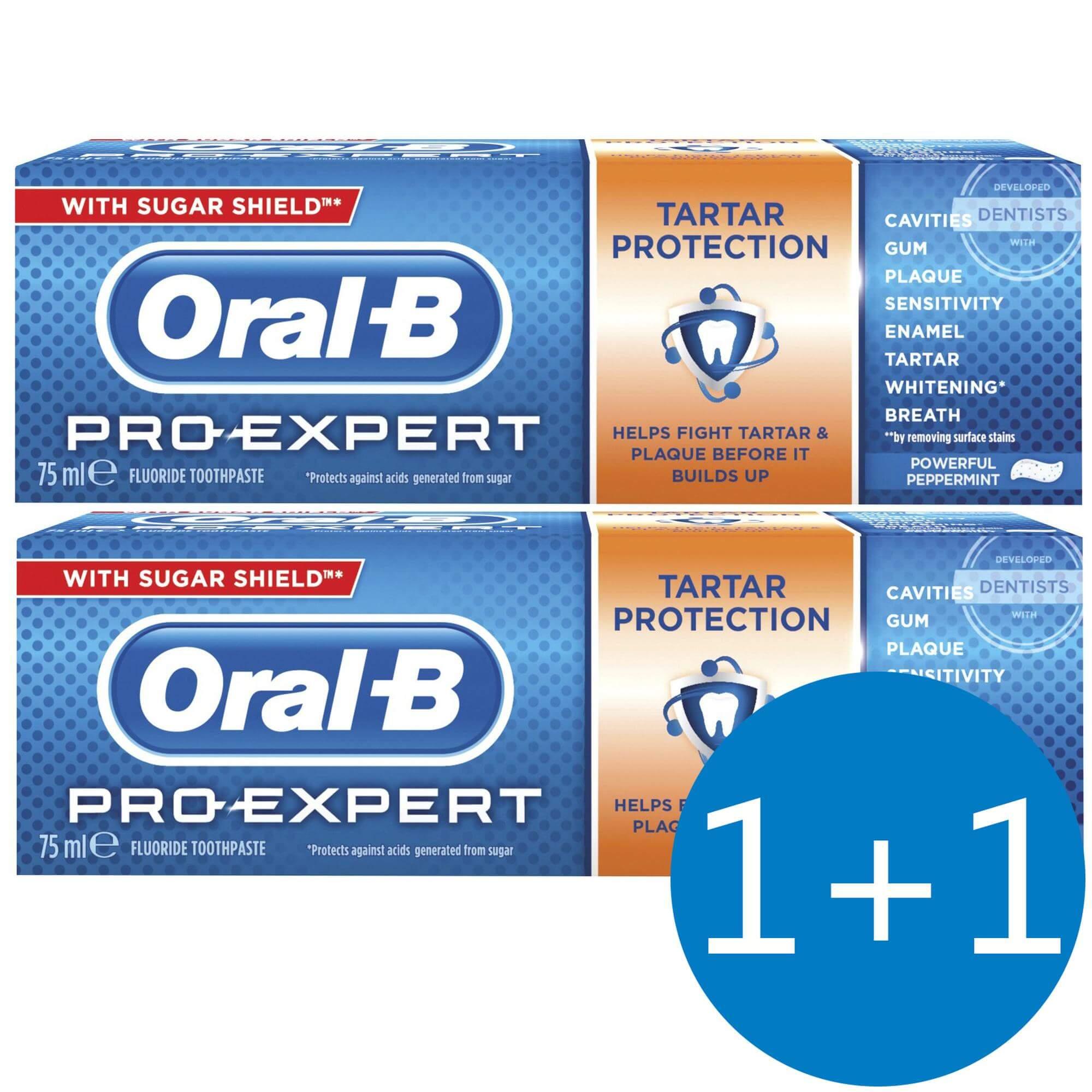 Oral-B Πακέτο Προσφοράς Pro-Expert Οδοντόκρεμα Κατά Tης Πέτρας 75ml Προσφορά 1+1 Δώρο