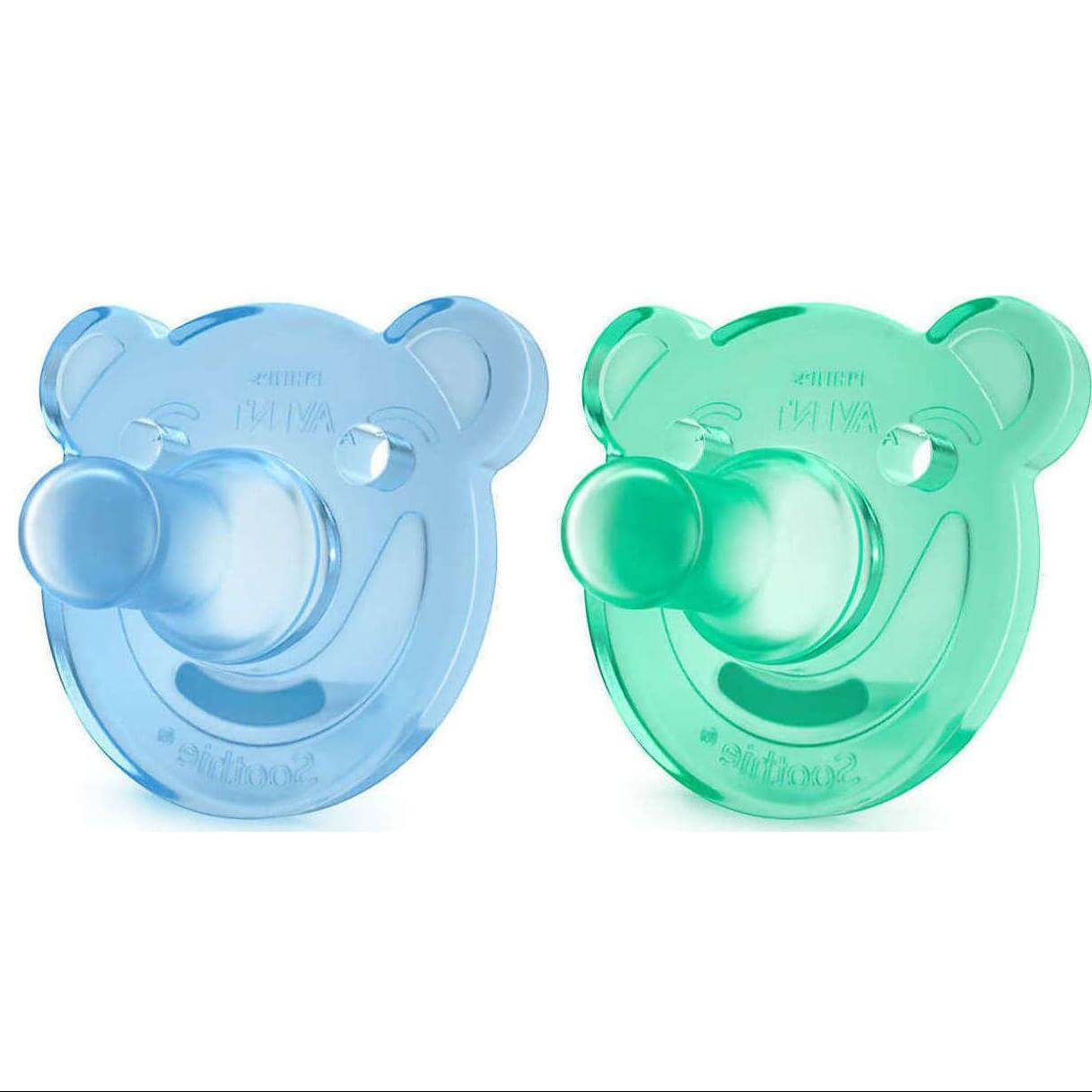 Avent Soothie Πιπίλα Σιλικόνης 0-3m, Μπλε – Πράσινο, 2 τεμάχια SCF194/01