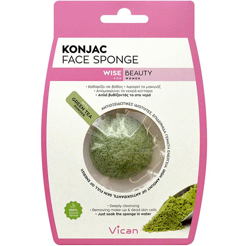 Vican Konjac Face Sponge με Σκόνη Πράσινο Τσάιμε Αντιοξειδωτικές Ιδιότητες για Επιδερμίδα Γεμάτη Ενέργεια1 Τεμάχιο