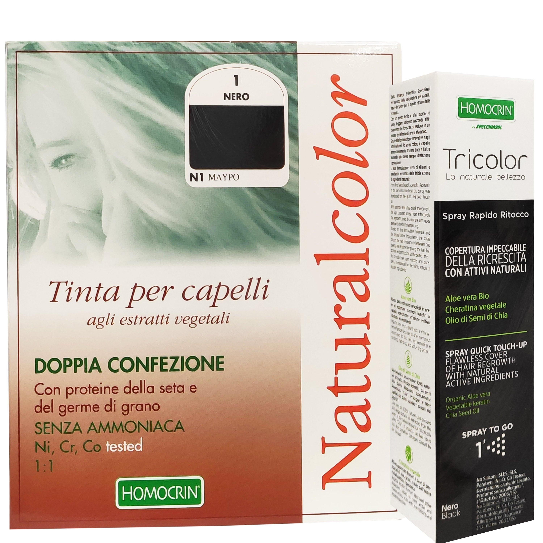 Specchiasol Πακέτο Προσφοράς Homocrin Natural Color Black Φυτική Βαφή Μαλλιών Μαύρο No1 & Δώρο Homocrin Tricolor Spray 75ml