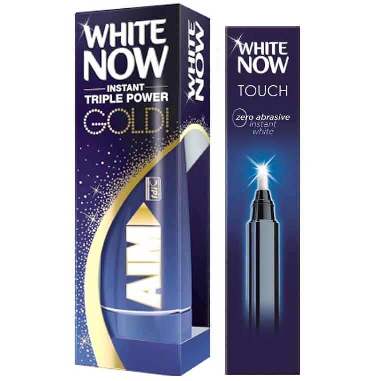 Aim Πακέτο Προσφοράς White Now Touch Στυλό Λεύκανσης 1.95ml & White Now Gold Οδοντόκρεμα για Άμεσα Λευκότερα Δόντια 50ml