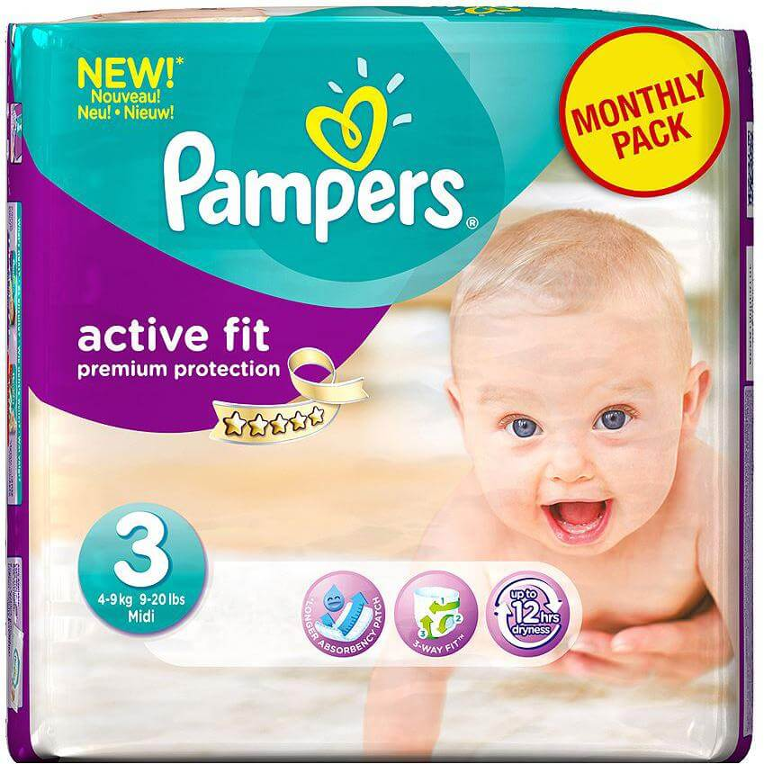 Pampers Monthly Pack Active Fit Midi No3 4-9kg 204packs, μόνο 0,24€/πάνα μητέρα παιδί   περιποίηση για το μωρό   πάνες