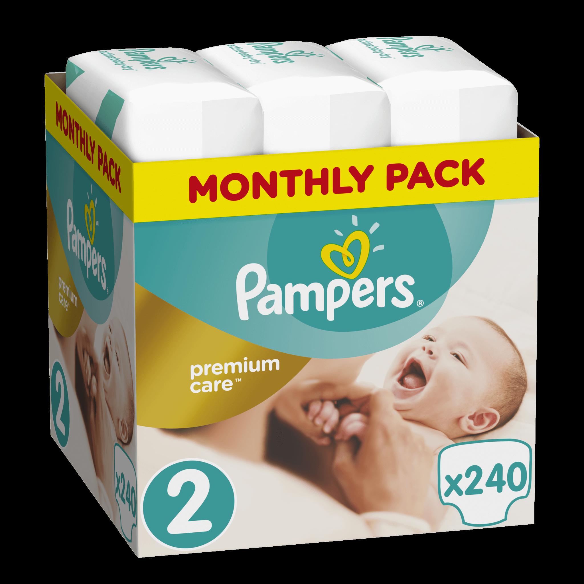 PampersPremium CareMonthly Pack No2 (3-6kg)240 πάνες, μόνο 0,17€ / πάνα μητέρα παιδί   περιποίηση για το μωρό   πάνες για το μωρό