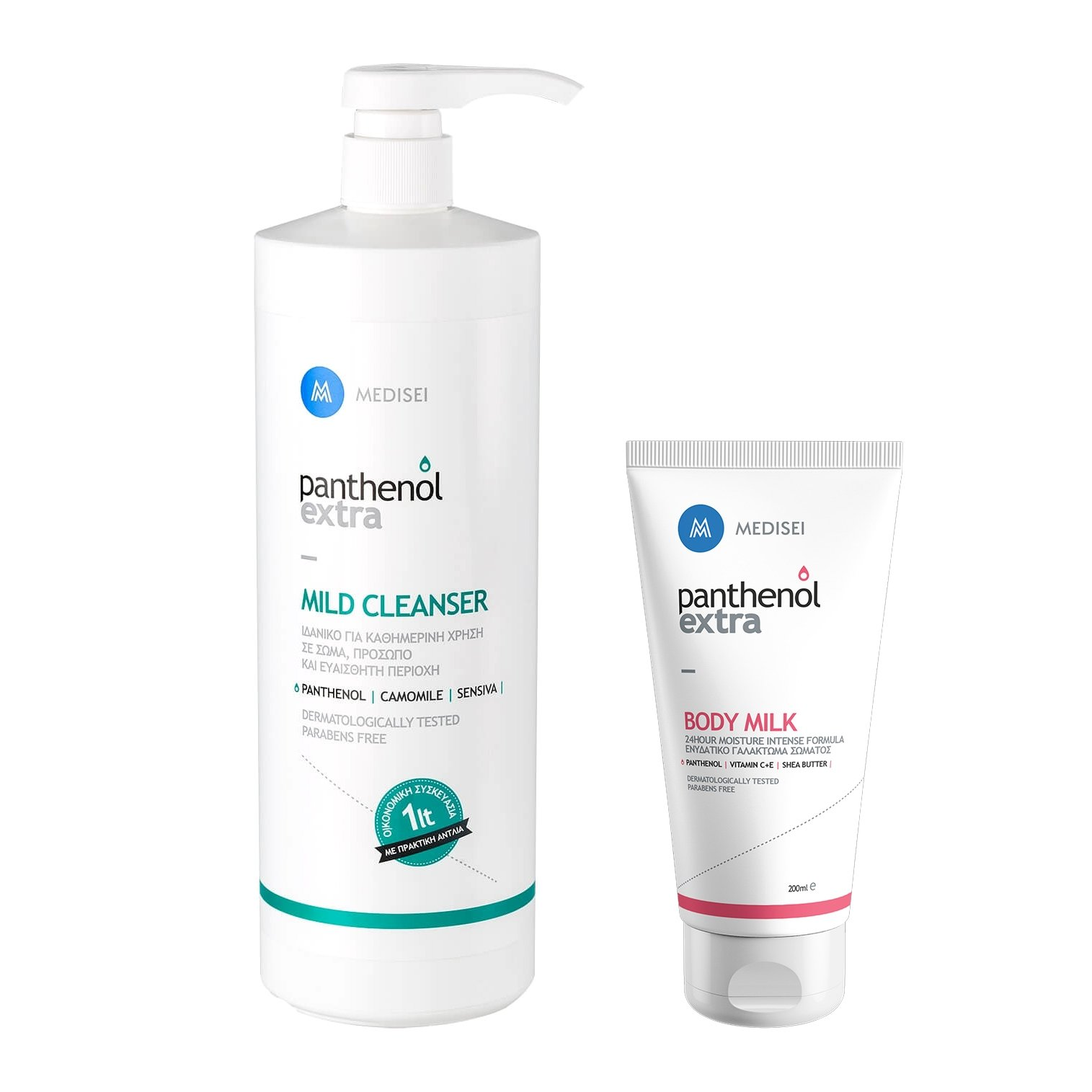 Medisei Panthenol Extra Promo Mild Cleanser 1L & Δώρο Body Milk 200ml
