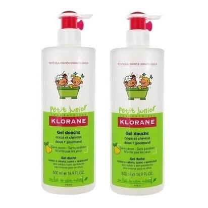 Klorane Petit Junior Shower Gel with Smooth Pear Fragrance Προστατευτικό Ζελ Ντους για Σώμα & Μαλλιά 2x500ml