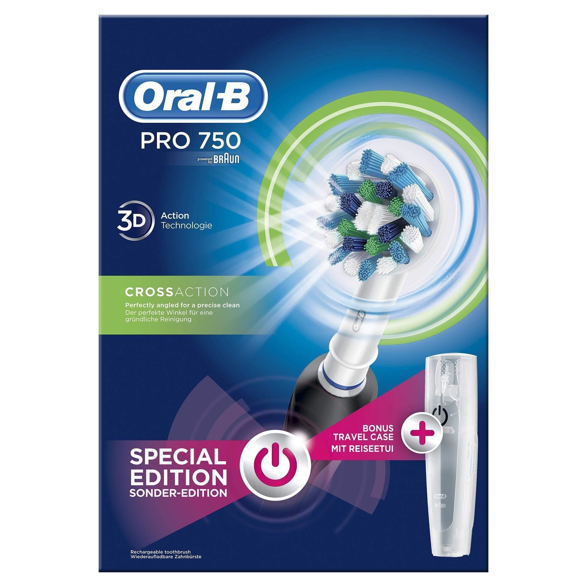 Oral B Pro 750 Cross Action 3D Black Special Edition Ηλεκτρική Οδοντόβουρτσα για Βαθύ Καθαρισμό σε Μαύρο Χρώμα