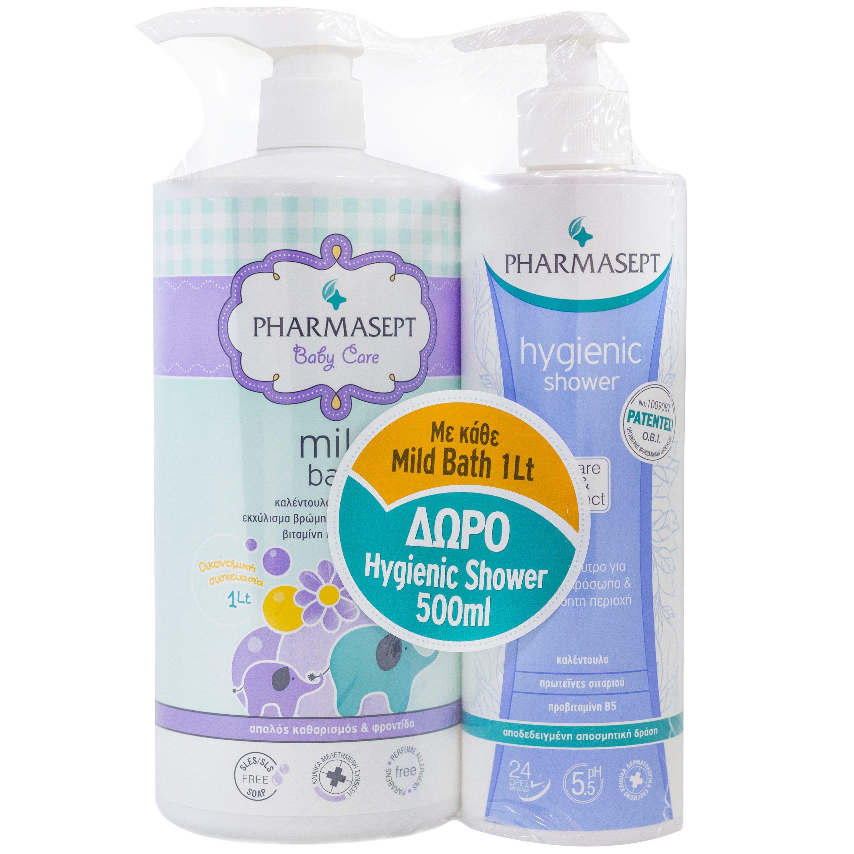 Pharmasept Πακέτο Προσφοράς Tol Velvet Baby Mild Bath 1Lt & Δώρο Tol Velvet Hygienic Shower 500ml